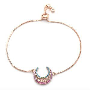 I Love You To The Moon Heart CZ Rose Gold Bracelet
